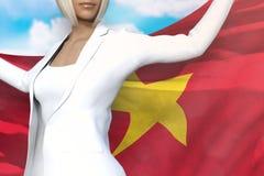 Piękna biznesowa dama trzyma Wietnam flagę w rękach za ona z powrotem na niebieskiego nieba tle - chorągwiana pojęcia 3d ilustrac ilustracji