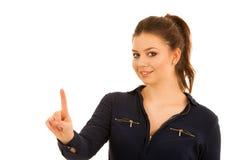 Piękna biznesowa kobieta naciska wirtualnego guzika odizolowywającego Zdjęcia Stock