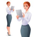 Piękna biznesowa kobieta używa pastylka komputer również zwrócić corel ilustracji wektora Fotografia Stock