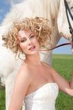 piękna blond czarodziejski koński bajki biel Zdjęcia Stock