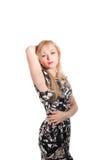 Piękna blond kobieta z elegancką suknią. Mody fotografia Obraz Royalty Free