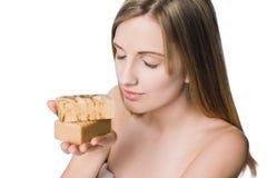 piękna blond organicznie mydeł wellness zdjęcia royalty free