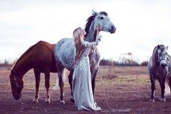 piękna blondie z koniem w polu, skutek tonowanie fotografia stock