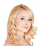 Piękna blondynka z idealną twarzą Obrazy Royalty Free