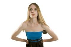 Piękna blondynki dziewczyna na białym tle Zdjęcia Royalty Free