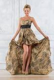 Piękna bonde kobieta w lampart wzorzystości tęsk suknia. zdjęcie royalty free