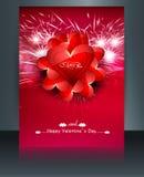 Piękna broszurki karta dla valentine dnia serca ślubu Zdjęcie Stock