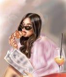 Piękna brunetka z croissant w ulicznej kawiarni royalty ilustracja