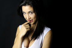Piękna brunetka z przejrzystym wierzchołkiem zdjęcia royalty free