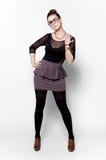 Piękna brunetka z szkłami Fotografia Royalty Free