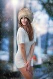 Piękna brunetki dziewczyna w zim ubraniach plenerowych zdjęcie royalty free