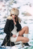 Piękna brunetki dziewczyna w zim ubraniach plenerowych obrazy royalty free