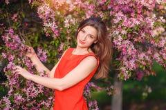 Piękna brunetki kobieta w parku na ciepłym letnim dniu Obrazy Stock