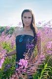 Piękna brunetki kobieta w polu obrazy royalty free