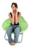 piękna brunetki krzesła green Fotografia Royalty Free