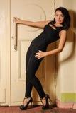 Piękna brunetki pozycja przy drzwi Zdjęcie Stock