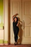 Piękna brunetki pozycja przy drzwi Obraz Stock