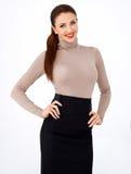 Piękna busty brunetki kobieta zdjęcia royalty free