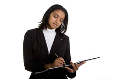 piękna ciemny ładny notatnika kostiumu writing Fotografia Stock