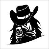 Piękna cowgirl kobieta z szkłem Fotografia Royalty Free