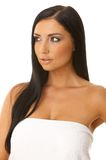piękna, czarna z niebieskimi włosami Zdjęcia Royalty Free