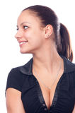 piękna czarny dziewczyna koszulowy uśmiechnięty t Zdjęcie Royalty Free