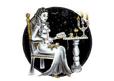 Piękna czarownica robi czary z wudu lalą ilustracji