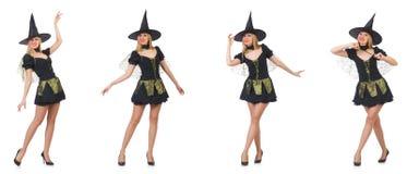 Piękna czarownica w czerni sukni odizolowywającej na bielu Zdjęcia Stock