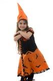 Piękna czarownicy dziewczyna, miotła i Obraz Royalty Free