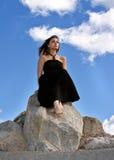 piękna czerń sukni dziewczyna Obrazy Royalty Free
