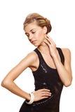 piękna czerń sukni mody kobieta fotografia royalty free