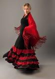 piękna czerń tana flamenco czerwieni kobieta Zdjęcie Royalty Free