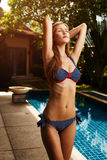 Piękna dębna kobieta sunbathing w bikini Fotografia Stock