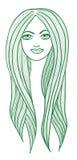 Piękna długowłosa dziewczyna royalty ilustracja