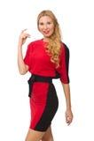 Piękna dama w czerwonej czerni sukni odizolowywającej dalej zdjęcie stock