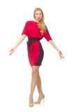 Piękna dama w czerwonej czerni sukni odizolowywającej dalej fotografia stock