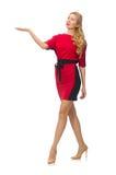 Piękna dama w czerwonej czerni sukni odizolowywającej dalej Zdjęcia Stock