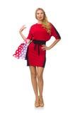 Piękna dama w czerwonej czerni sukni odizolowywającej na Zdjęcie Stock