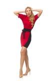 Piękna dama w czerwonej czerni sukni odizolowywającej na Fotografia Stock