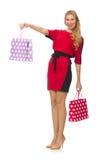 Piękna dama w czerwonej czerni sukni odizolowywającej na Obraz Royalty Free