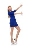 Piękna dama w zmroku - błękit suknia odizolowywająca dalej zdjęcie stock