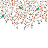 Piękna dekoracja: trzy ptaka siedzą na gałąź Fotografia Stock