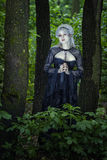 Piękna dziewczyna ciskająca w drewnach Zdjęcia Royalty Free
