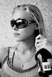 piękna dziewczyna czarnego white zdjęcie stock