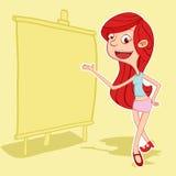 Piękna dziewczyna daje prezentaci z białą deską Zdjęcie Stock