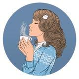 Piękna dziewczyna i filiżanka kawy Ð ¡ olor grafiki ilustracja Obrazy Royalty Free