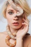 Piękna dziewczyna i węża boa constrictors Obraz Stock