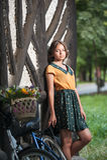 Piękna dziewczyna jest ubranym ładną suknię z szkoły wyższa spojrzeniem ma zabawę w parku z bicyklem niesie pięknego kosz Rocznik Fotografia Royalty Free