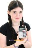 piękna dziewczyna kalkulator z pokazać tween Fotografia Stock