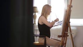 Piękna dziewczyna koncentruje akwarela obraz zbiory